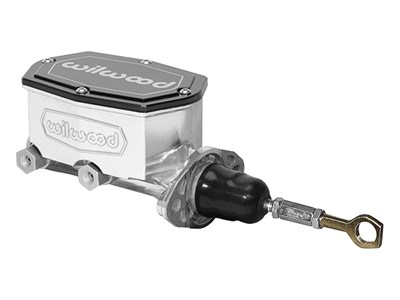 "Wilwood 260-15543-P Compact Tandem Outlet Master Cylinder, Pushrod, 1.12"", Integral Res, Silver"