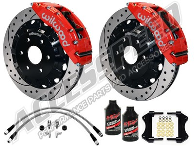 "Wilwood TC6R Front 16"" Brake Kit, Red, Drilled Rotors, Brake Lines & Fluid 2000-2006 GM 1500 Truck"