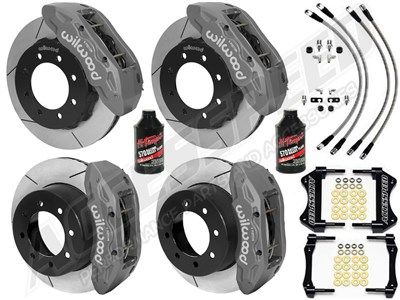 "Wilwood TX6R 16"" Front & Rear Brakes, Clear, Slotted, Lines 2000-2006 GM Suburban/Yukon 2500 W/4.84"