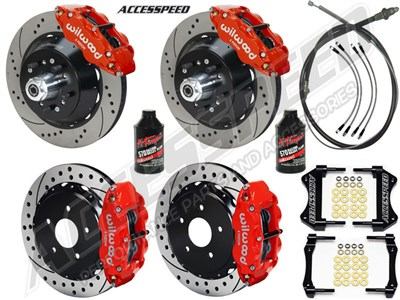 "Wilwood Superlite 14"" Front 13"" Rear Brakes, Red, Drilled, Lines, Fluid, 2.50"" O/S, 1965-67 Mustang"