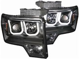 Anzo USA 111263 U-Bar Style Black Projector Headlights 2009-2014 Ford F-150 /