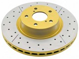 DBA DBA2114X Rear Street Series Gold Cross-Drilled and Slotted Rotor 2005-2009 Mustang GT/V6 /