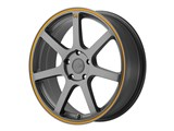 Motegi Racing MR13277041740 MR132 17x7 4x100 Matte Gray W/Orange Stripe (40mm) Wheel /