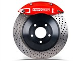 StopTech 83.192.0057.72 2010-2013 Camaro V6 Rear Big Brake Kit 4-Piston Drilled Rotors Red /