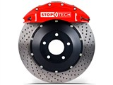StopTech 83.192.6700.72 2010-2013 Camaro V6 Front Big Brake Kit 6-Piston X-Drilled 355mm Rotors Red /