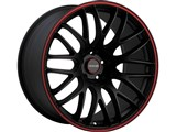 Tenzo Type-M Version 1 17x7 4x100 / 4x114.3 +42mm Offset Wheel - Black/Red /
