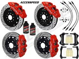 "Wilwood AERO6 15"" Front & AERO4 Rear Brake Kit Red W/Drilled, Brake Lines+Fluid 1997-2004 Corvette /"