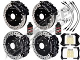 "Wilwood FNSL6R Front & FNSL4R Rear 14"" Brake Kit Black Drilled, Brake Lines+Fluid 1997-2004 Corvette /"