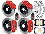"Wilwood FNSL6R Front & FNSL4R Rear 14"" Brake Kit Red Slotted, Brake Lines+Fluid 1997-2004 Corvette /"