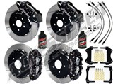 "Wilwood FNSL6R Front & FNSL4R Rear 13"" Brake Kit Black Slotted, Brake Lines+Fluid 1997-2004 Corvette /"