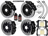 "Wilwood AERO6 14"" Front & AERO4 Rear Brake Kit Black W/Drilled, Brake Lines+Fluid 2005-2013 Corvette /"