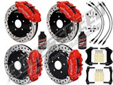 "Wilwood FNSL6R Front & FNSL4R Rear 13"" Brake Kit Red, Drilled, Brake Lines+Fluid 2005-2013 Corvette /"