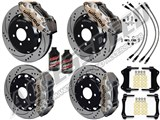 "Wilwood AERO6 14.25"" Front & Rear Big Brakes Nickel W/Drilled, Brake Lines+Fluid 2014-2017 Corvette /"