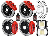 "Wilwood AERO6 Front & FNSL4R Rear 14"" Big Brake Kit, Red, Drilled, Brake Lines, Fluid 2016+ Camaro /"