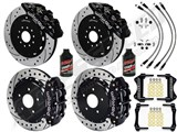 "Wilwood AERO6 14"" Front & FNSL4R Rear Brake Kit Black Drilled Rotors Lines Fluid 2016-2017 Camaro SS /"