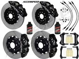 "Wilwood AERO6 14"" Front & AERO4 Rear Brake Kit Black W/Slotted, Brake Lines+Fluid 2005-2011 Charger /"