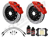 "Wilwood AERO6 14"" Front Brake Kit, Red, Drilled, Brake Lines & Fluid 2012-2015 Charger, Challenger /"