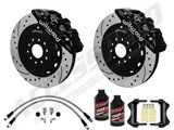 "Wilwood AERO6 14"" Front Brake Kit, Black, Drilled, Brake Lines & Fluid 2012-2015 Charger, Challenger /"