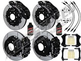 "Wilwood TX6R 15.5"" Front & SL6R 14"" Rear Black Brake Kit Slotted Rotors Brake Lines 2012-2014 F150 /"