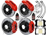 "Wilwood TX6R 15.5"" Front & SL6R 14.25"" Rear Brake Kit Red Slotted Rotors Brake Lines 2012-2014 F150 /"