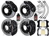 "Wilwood TX6R 16"" Front & 15.5"" Rear Black Brake Kit Slotted Rotors & Brake Lines 2005-2010 F250/350 /"