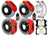 "Wilwood TX6R 16"" Front & TX6R 15.5"" Rear Red Brake Kit Slotted Rotors Brake Lines 2005-2010 F250/350 /"