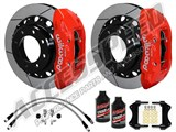 "Wilwood TX6R 15.5"" Rear Brake Kit Red W/Slotted Rotors, Brake Lines & Fluid 2011-2012 Ford F250/350 /"