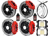 "Wilwood Superlite 14"" Front & Rear Big Brake Combo, Red, Drilled, 1966-1975 Bronco W/Big 2.36 OS"
