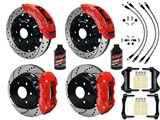 Wilwood TC6R Front AERO4 Rear Brakes, Red Drilled Lines Fluid 2000-2006 GM Truck/SUV W/2-Piston Rear /