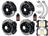 Wilwood TC6R Front AERO4 Rear Brakes Black Drilled Lines Fluid 2000-06 GM Truck/SUV W/2-Piston Rear /