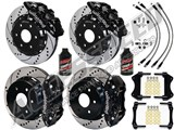 Wilwood AERO6 Front & Rear Brake Kit Drilled, Black, Lines 2000-2006 GM Truck/SUV W/2-Piston OE Rear /