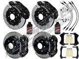 "Wilwood TX6R 16"" Front & AERO4 14"" Rear Brake Kit Black Slotted Lines Fluid 2007-2016 GM 1500 Truck /"