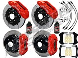 "Wilwood TX6R 16"" Front & AERO4 14"" Rear Brake Kit Red Slotted, Lines & Fluid 2007-2016 GM 1500 Truck /"