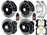 "Wilwood TC6R 16"" Front & AERO4 14"" Rear Brake Kit Black Slotted Rotors Brake Lines 2007-2016 GM 1500 /"