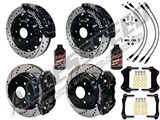"Wilwood TC6R 16"" Front & AERO4 14"" Rear Brake Kit Black Drilled Rotors Brake Lines 2007-2016 GM 1500 /"
