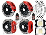 "Wilwood TC6R 16"" Front & AERO4 14"" Rear Brake Kit Red Drilled Rotors Brake Lines 2007-2016 GM 1500 /"