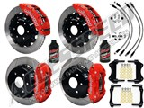 "Wilwood TC6R 16"" Front & AERO4 14"" Rear Brake Kit Red Slotted Rotors Brake Lines 2007-2016 GM 1500 /"