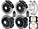 "Wilwood AERO6 Front & AERO4 Rear Black Brake Kit 14.25"" Slotted Rotors Brake Lines 2007-2016 GM 1500 /"