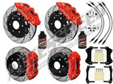 "Wilwood AERO6 Front & AERO4 Rear Red Brake Kit 14.25"" Drilled Rotors Brake Lines 2007-2016 GM 1500 /"