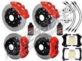 "Wilwood AERO6 Front & AERO4 Rear Red Brake Kit 14.25"" Slotted Rotors Brake Lines 2007-2016 GM 1500 /"