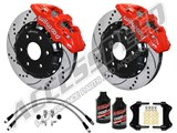 "Wilwood AERO6 Front 14.25"" Brake Kit, Red, Drilled, Brake Lines & Fluid 2007-2016 GM 1500 Truck /"