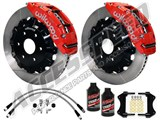 "Wilwood TC6R Front 16"" Brake Kit, Red, Slotted Rotors, Brake Lines & Fluid 2007-2017 GM 1500 Truck /"
