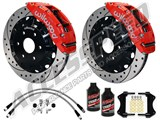 "Wilwood TC6R Front 16"" Brake Kit, Red, Drilled Rotors, Brake Lines & Fluid 2007-2017 GM 1500 Truck /"
