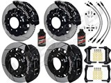 "Wilwood TC6R 16"" Front & Rear Brake Kit Black, Slotted, Brake Lines 2000-2006 GM 2500/3500 W/4.84 Rr /"