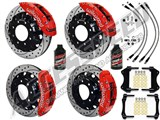 "Wilwood TC6R 16"" Front & Rear Brakes Red Drilled Rotors Brake Lines 2007-2010 GM 2500/3500 Truck /"