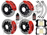 "Wilwood TC6R 16"" Front & Rear Brakes Red Slotted Rotors Brake Lines 2007-2010 GM 2500/3500 Truck /"