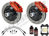 "Wilwood SL6R Front 14"" Big Brake Kit & 2"" Drop Spindle Combo, Red, Drilled, 1964-1974 GM A/F/X Body /"