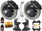 "Wilwood SL6R Front 14"" Big Brake Kit & 2"" Drop Spindle Combo, Black Drilled, 1964-1974 GM A/F/X Body /"