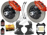 "Wilwood SL6R Front 13"" Big Brake Kit & 2"" Drop Spindle Combo, Red, Slotted, 1964-1974 GM A/F/X Body /"