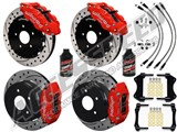 "Wilwood 14"" Front & Rear Big Brake Kit Red Drilled Rotors, Brake Lines & Fluid 2004-2006 Pontiac GTO /"
